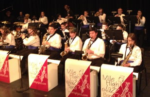 Photograph of Carson Middle School Jazz Band playing at   Jazz Extravaganza on Jan. 28, 2014