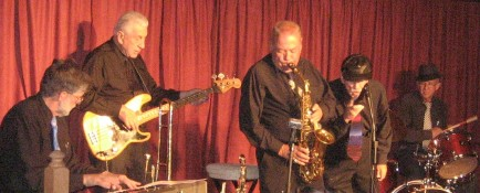 Photograph of the Millennium Bugs at the Mark Twain Cultural Center,  with Mark Ashworth on drums