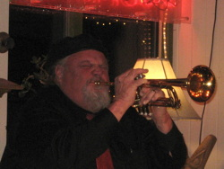 Photograph of trumpeter Scott Scheuerman taking a solo